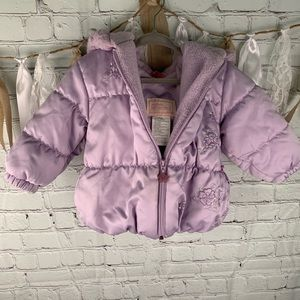 La Petite Rothschild purple puffer coat  sz 12 mo